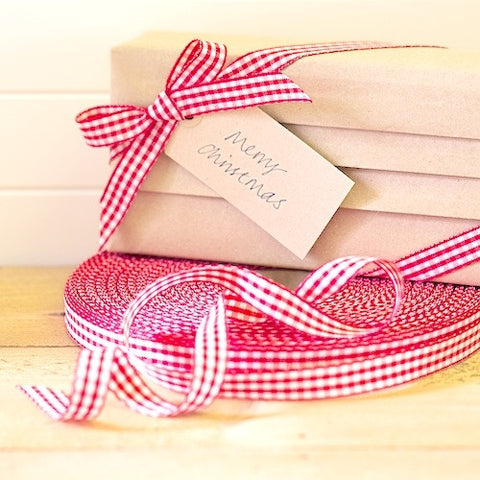Red Gingham Ribbon 15mm (100M)