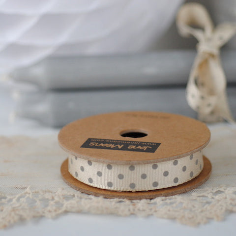 Cream and Grey Spotty Ribbon (100M)