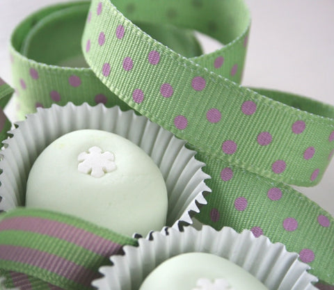 Mint and Pink Dotty Ribbon (100M)