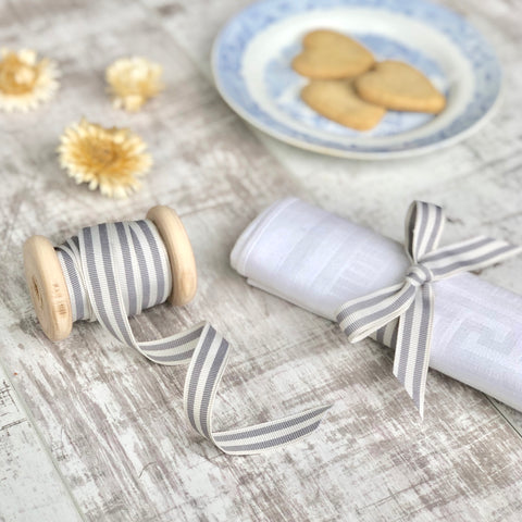 grey and white stripe ribbon
