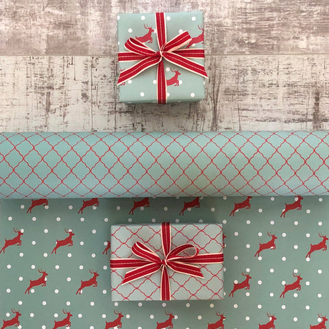 Reversible Turquoise Stag Gift Wrap