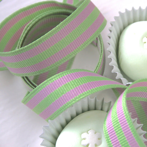 Mint and Pink Stripe Grosgrain Ribbon