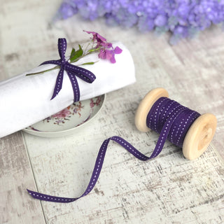 Narrow Purple Stitched Ribbon