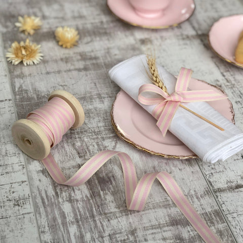 Pale Pink and Cream Stripe Ribbon
