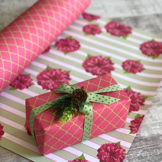 Reversible Pink + Green Dahlia Gift Wrapping Set