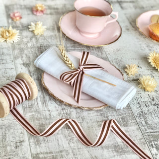 Pink and Brown Stripe Ribbon