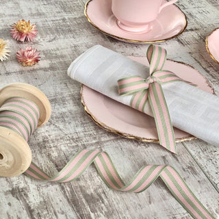Pistachio and Pink Stripe Grosgrain Ribbon