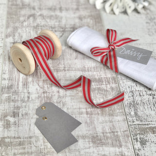 Red and Slate Stripe Ribbon