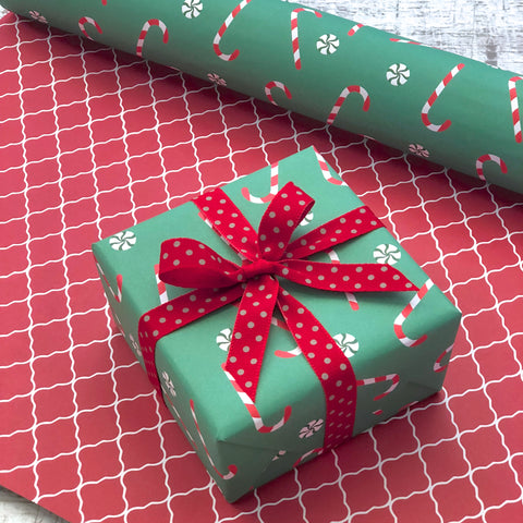 Reversible Green Candy Canes Gift Wrap
