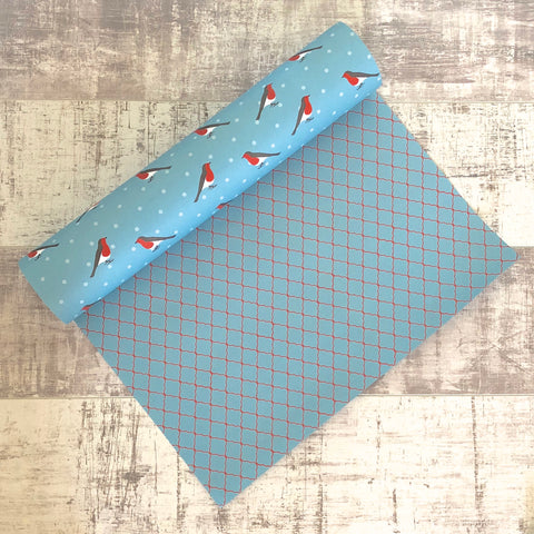 Reversible Turquoise Robin Gift Wrap (wholesale)
