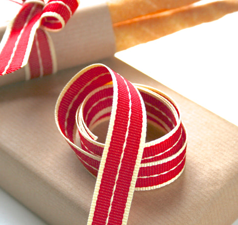 Vintage Red Stitched Ribbon