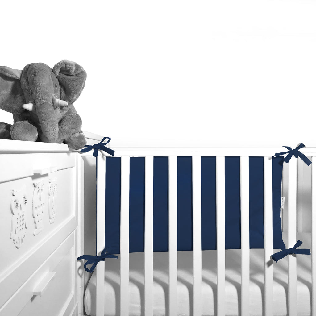 Cot Bumper (pastel collection) - navy - Little Baby Shop -