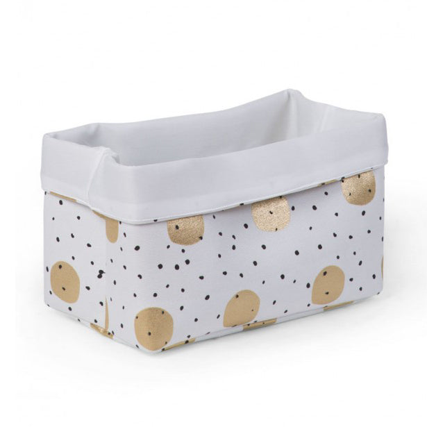 CANVAS BOX 32x20x20 WHITE GOLD DOTS - Little Baby Shop -
