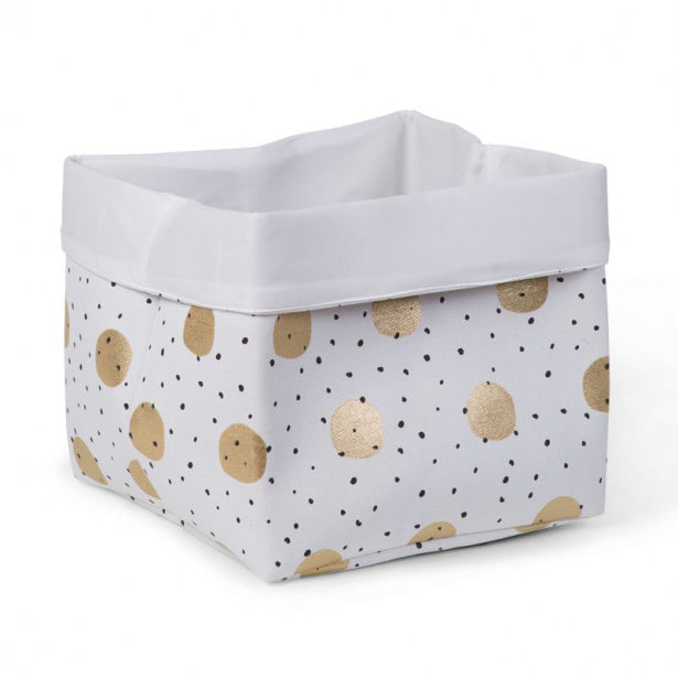 CANVAS BOX 32x32x29 WHITE GOLD DOTS - Little Baby Shop -