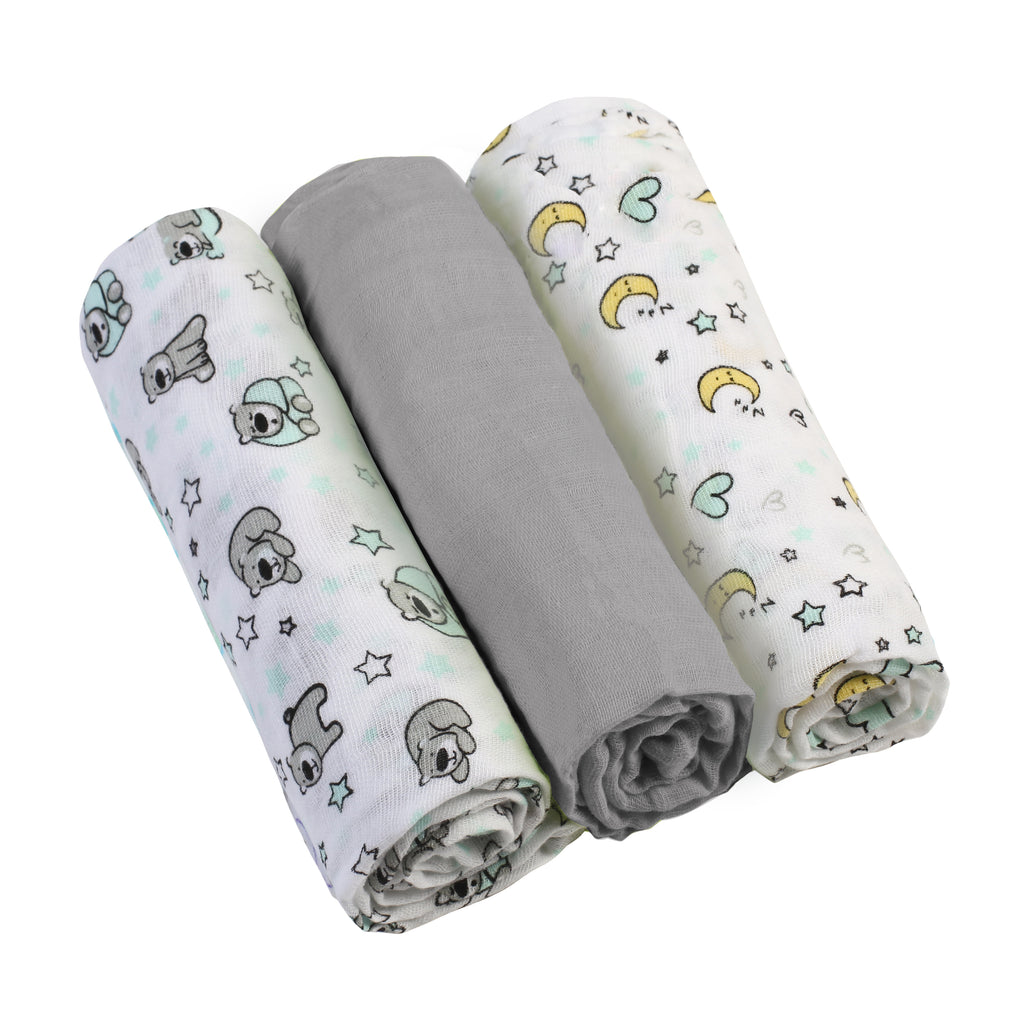 Muslin Cloths (3 pcs) - grey - Little Baby Shop -