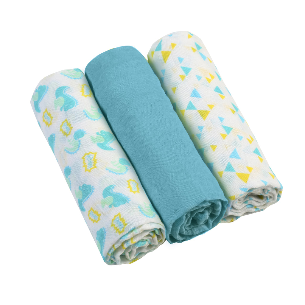 Muslin Cloths (3 pcs) - blue, Little Baby Shop Ltd.
