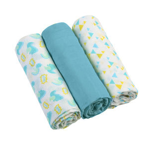 Muslin Cloths (3 pcs) - blue - Little Baby Shop -