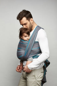 Sling BE CLOSE Diamond - turquoise & graphite - Little Baby Shop -