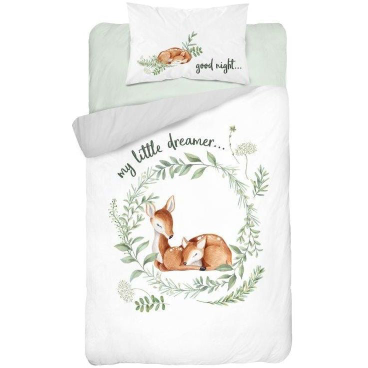 Double-sided Bamboo Bed Linen - bambi/olive