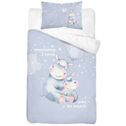 Double-sided Bamboo Bed Linen - hippo/blue