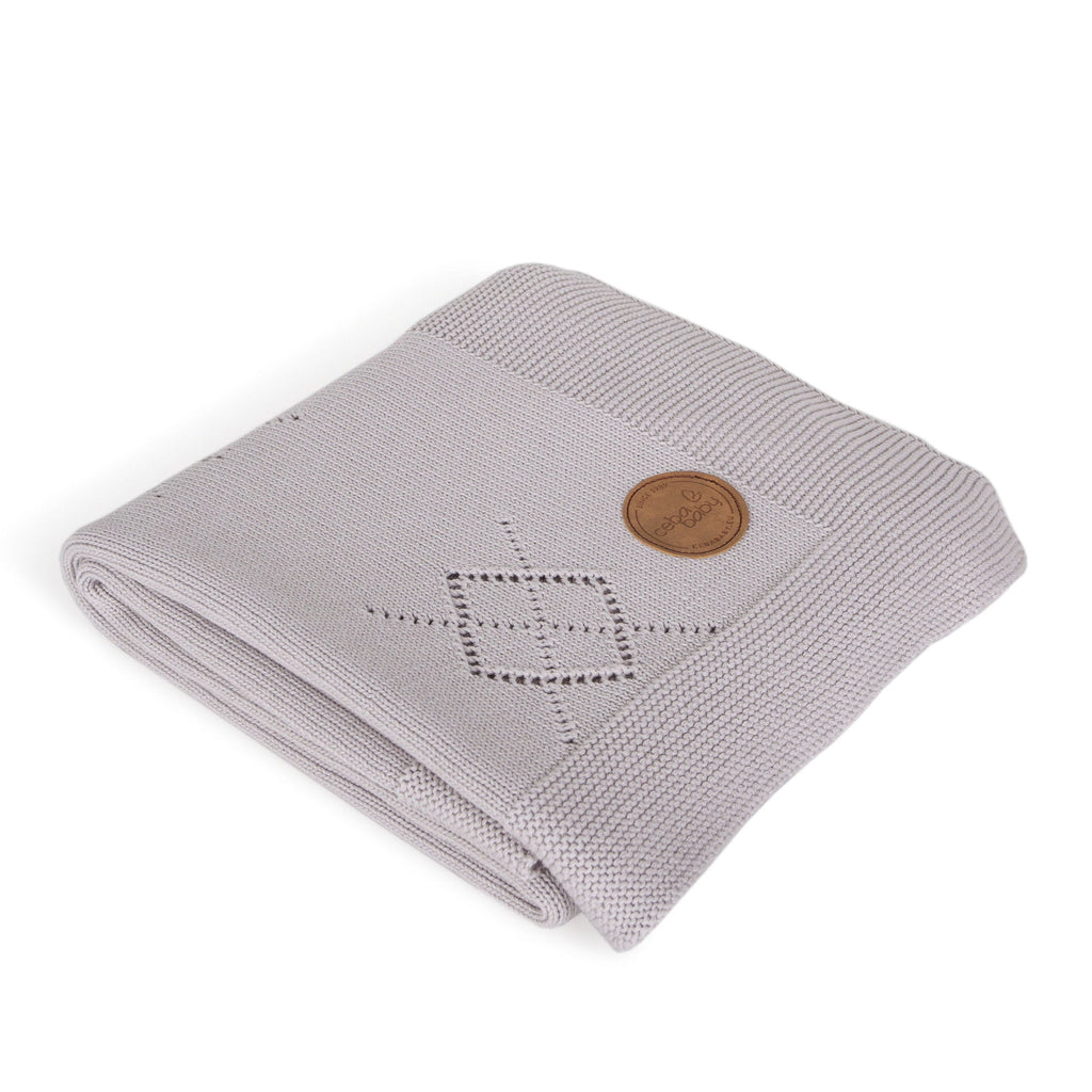 KNITTED BLANKET IN GIFT BOX - DIAMONDS GREY - Little Baby Shop -
