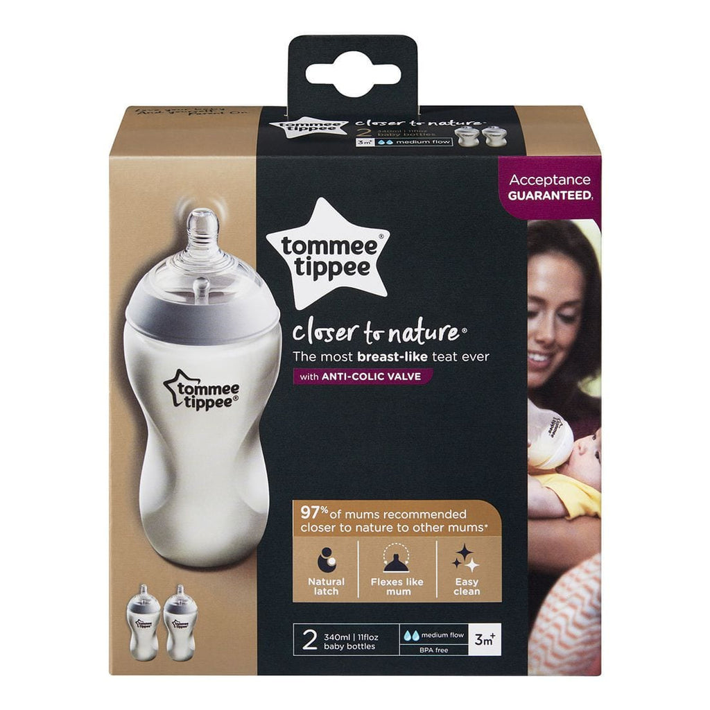 Tommee Tippee Closer to Nature Bottles 340ml 2 Pack - Little Baby Shop -