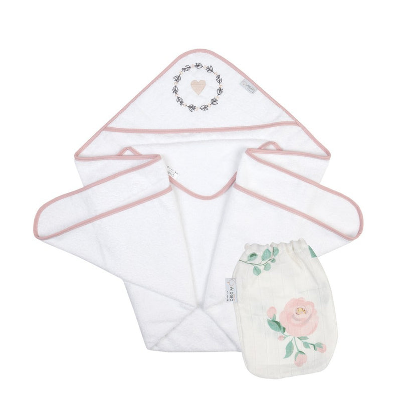 Nature & Love Bath Towel & Muslin Cloth - rose, Little Baby Shop Ltd.