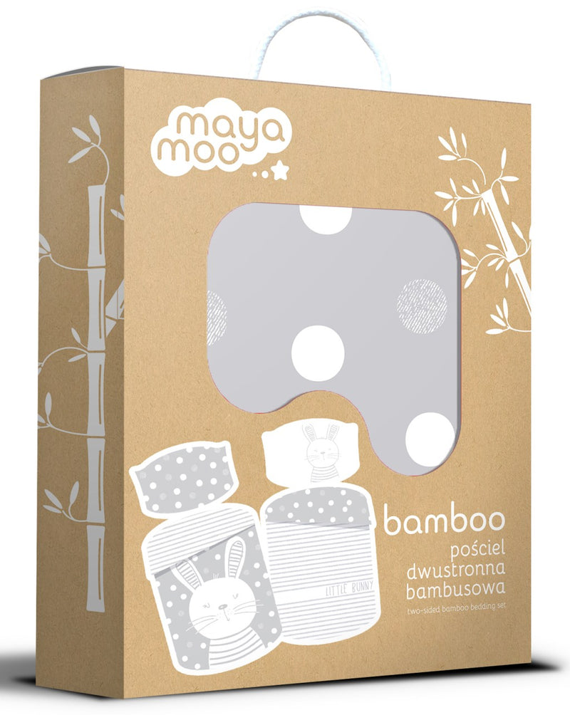 Double-sided Bamboo Bed Linen - hippo/grey