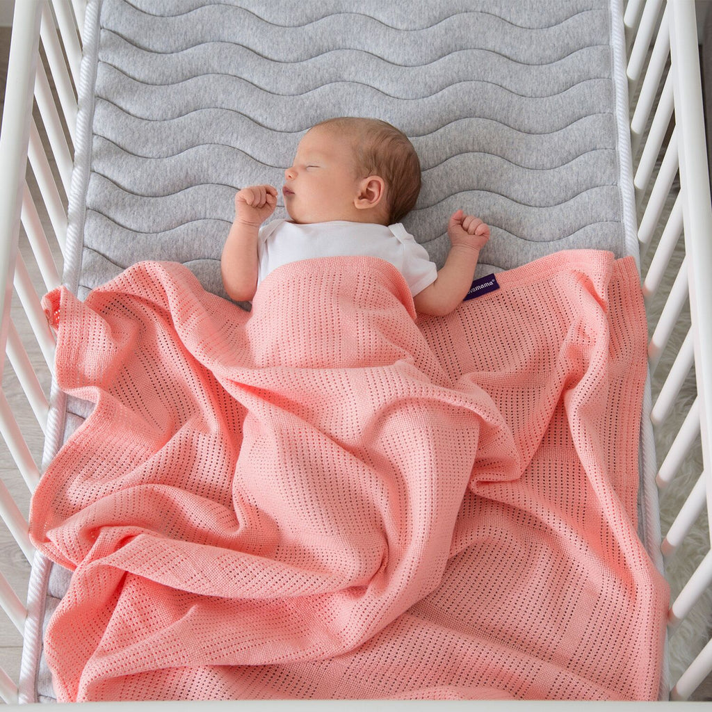 ClevaMama Cellular Blanket Crib/ Moses Basket - coral - Little Baby Shop -