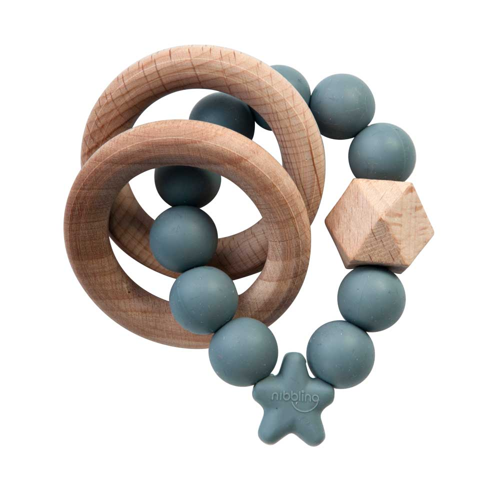 Nibbling Stellar Natural Wood Teething Toy – grey