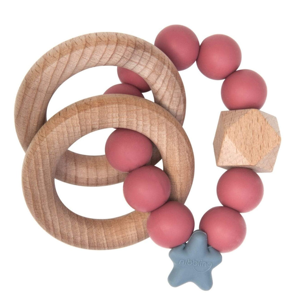 Nibbling Stellar Natural Wood Teething Toy – pomegranate
