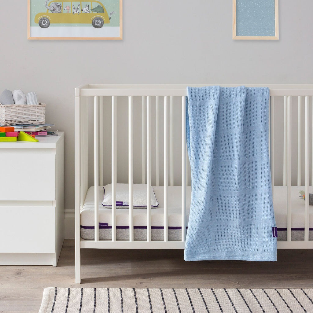 ClevaMama Cellular Blanket Cot/ Cot-Bed - blue - Little Baby Shop -
