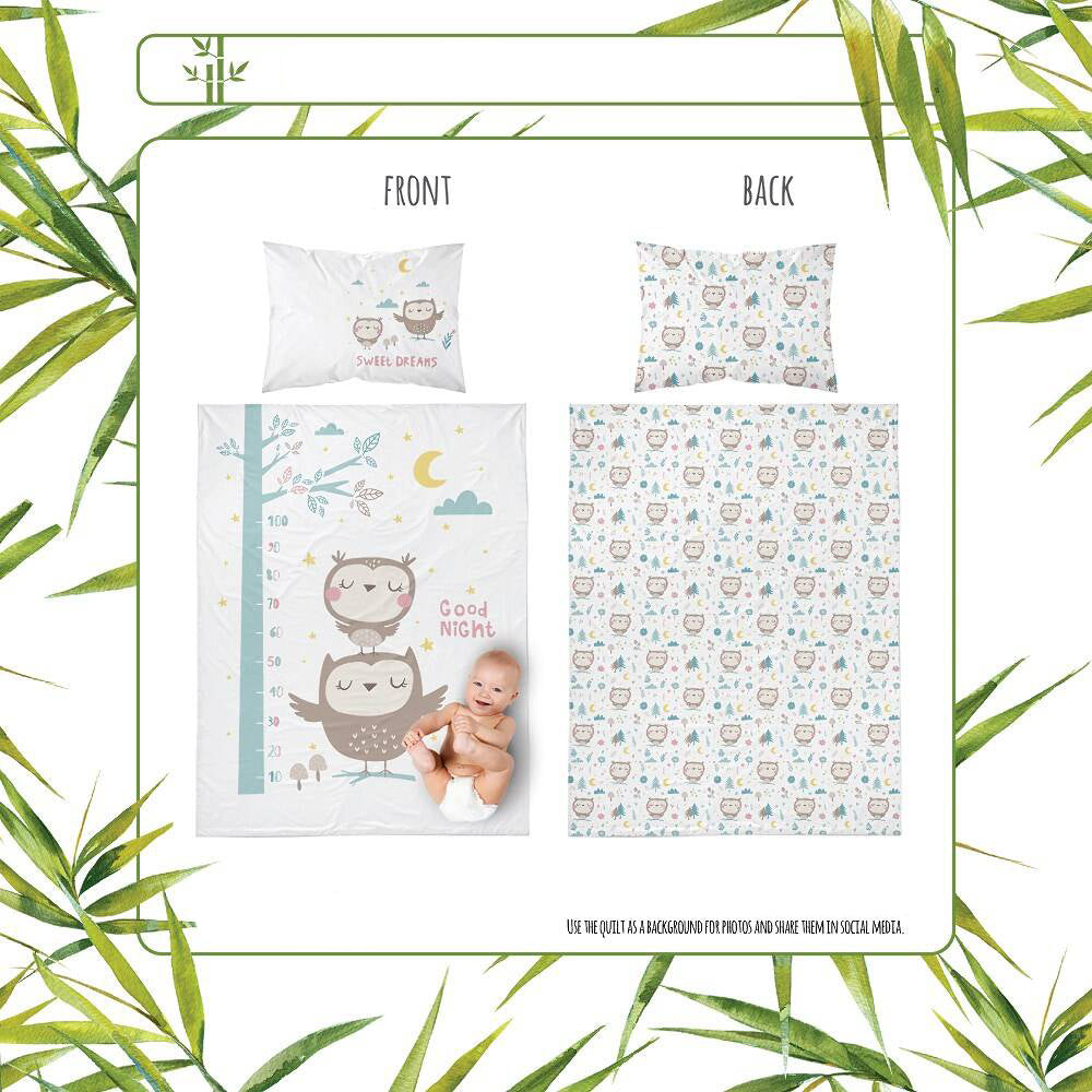 Double-sided Bamboo Bed Linen - mint owls