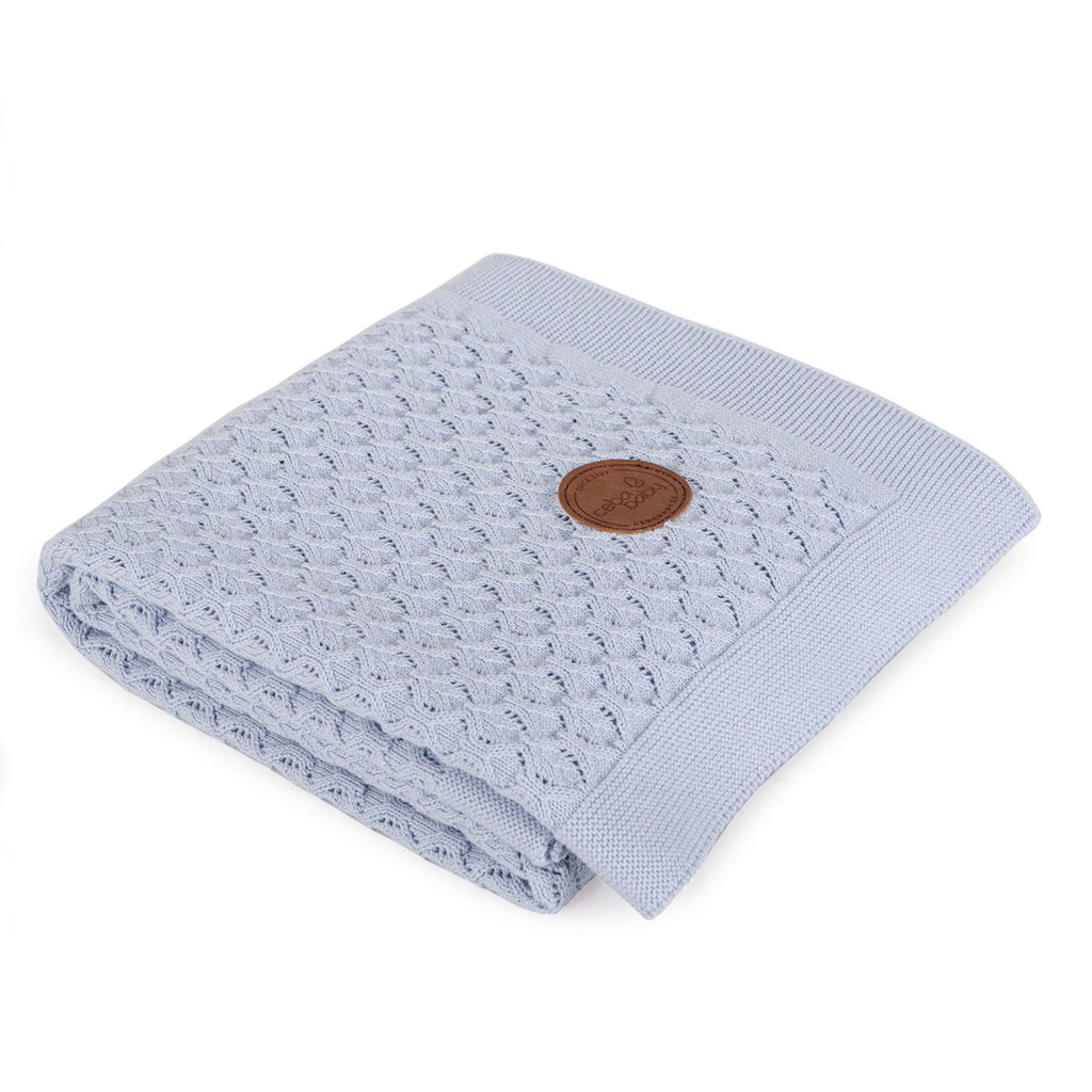 KNITTED BLANKET IN GIFT BOX - BLUE WAVES - Little Baby Shop -