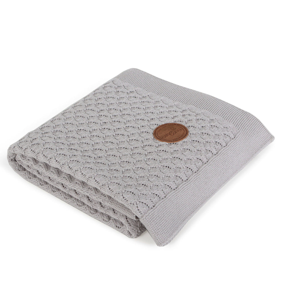 KNITTED BLANKET IN GIFT BOX - GREY WAVES - Little Baby Shop -