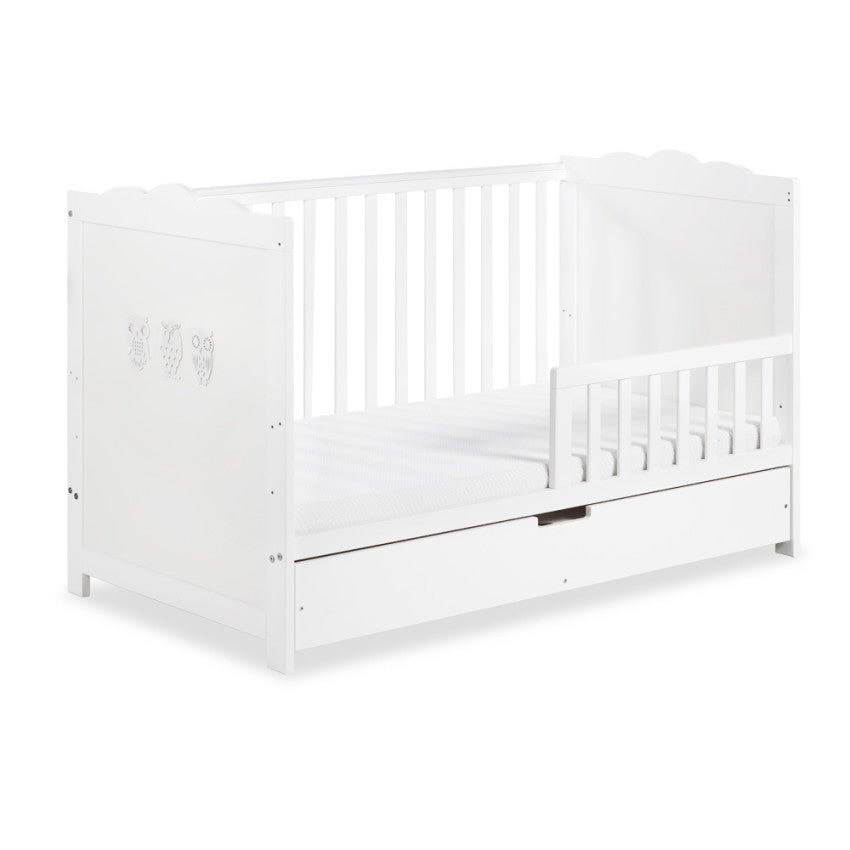 Marsell cot-bed with safety rail and drawer - Little Baby Shop -