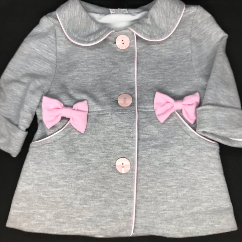 Grey Coat with pink Bows, Little Baby Shop Ltd.