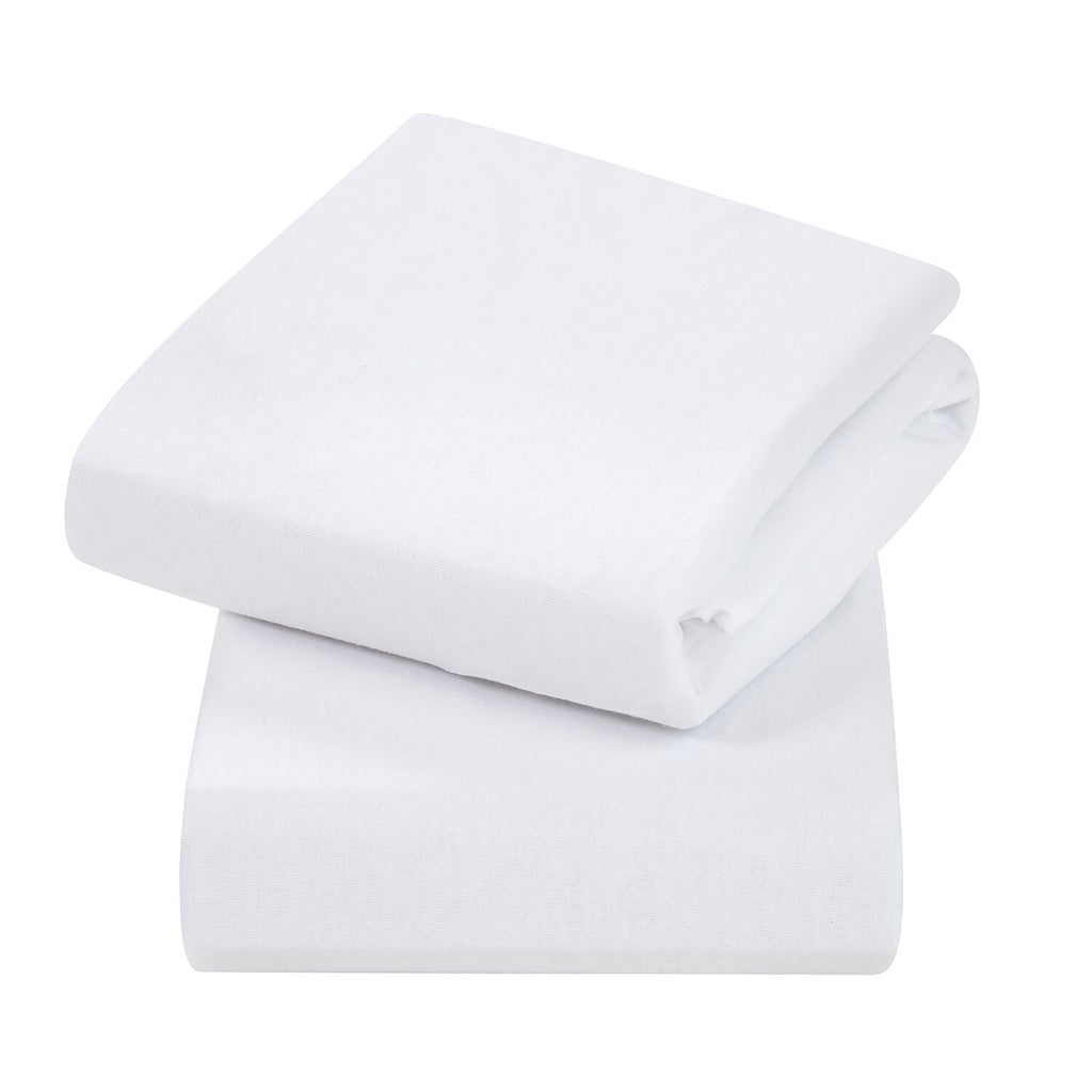 ClevaMama Jersey Cotton Fitted Sheets Crib/Cradle - white - Little Baby Shop -