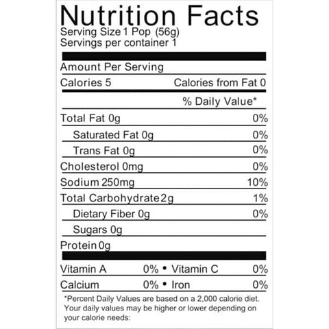 Bobs Pickle Pops nutrition label 50ct Box