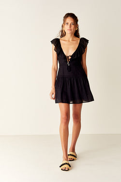 Ruffled Mini Dress - Black