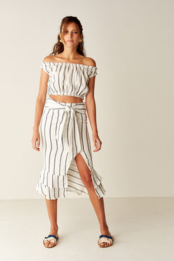 Ruffled Midi Skirt - WHT/BLK STRIPE