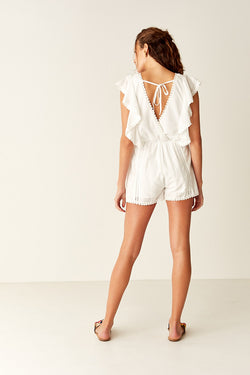 Ruffled Playsuit - WHITE