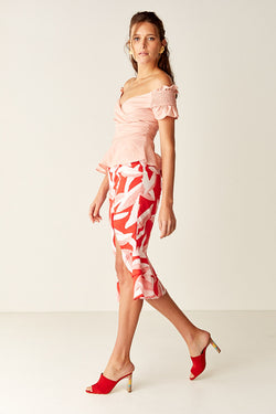 Ruffled Midi Skirt - Red Leaf