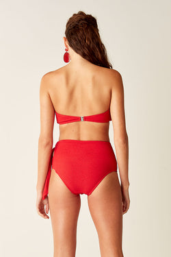 Cut Out High Waisted Bottoms - Red