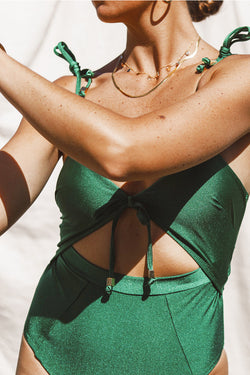 Green Dream Tie Shoulder One Piece - Bottle Green