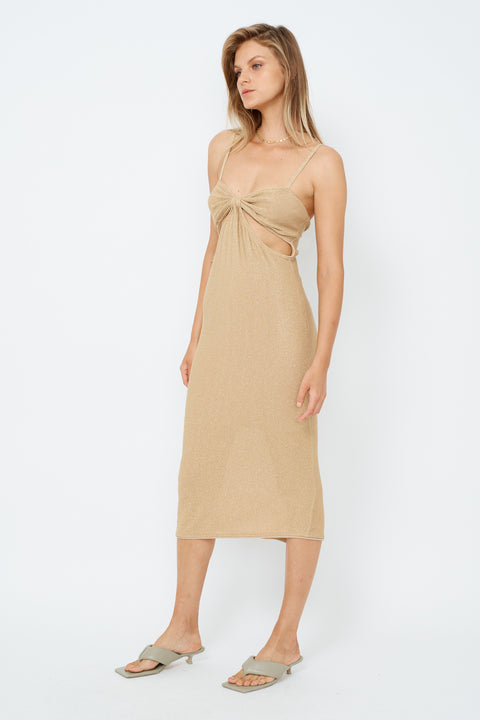 Billie Knit Cut Out Midi Dress - Gold - *PRE ORDER*
