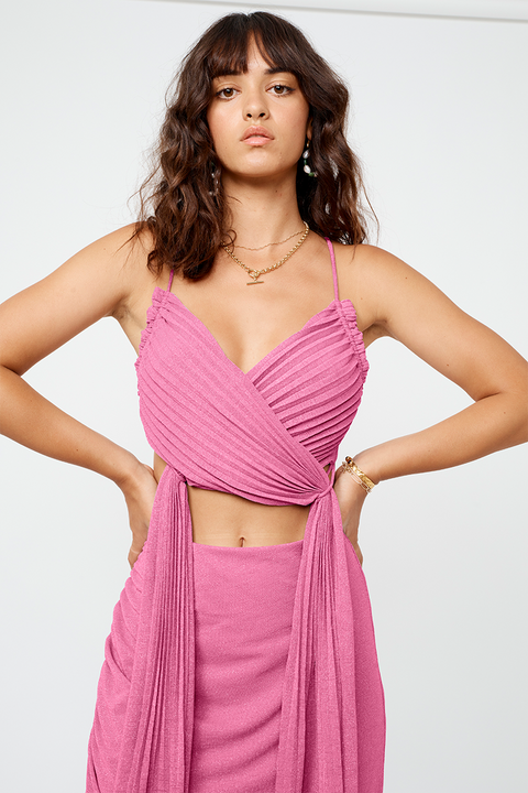 Asha Lurex Jersey Wrap Top - Pink