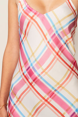 Brigitte Check Print Slip Dress
