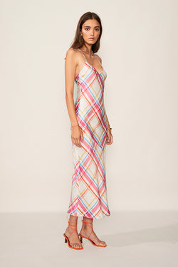 Brigitte Check Print Slip Dress by Suboo