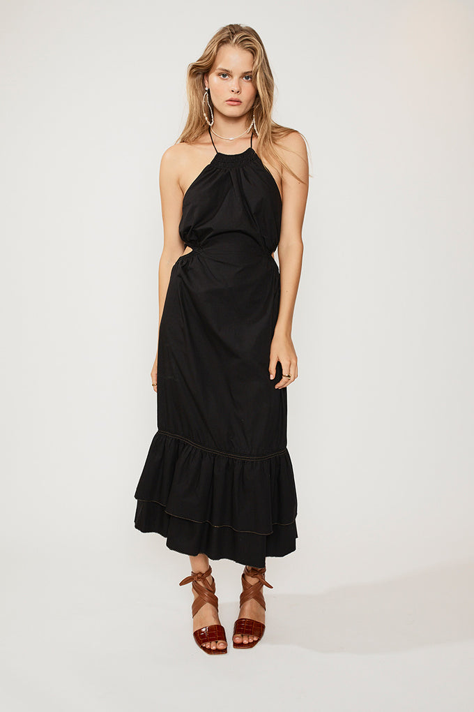 Eden Halter Neck Maxi Dress - Black